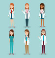 group of medical staff characters vector image