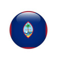 guam flag on button vector image vector image