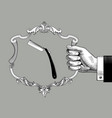 hand holding a baroque decorative frame with a vector image vector image