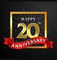 happy 20th anniversary background design black vector image