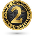 happy 2nd years anniversary gold label vector image