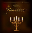 happy hanukkah card template with lights on holder vector image