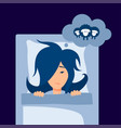 insomnia concept in simple flat style vector image