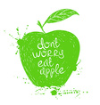 isolated green apple silhouette vector image vector image