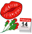 Kisses and Red roses for Valentines Day vector image vector image