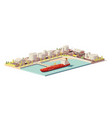 low poly oil depot and oil tanker ship vector image vector image