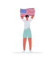 man holding usa flag guy celebrating 4th july vector image vector image