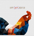 polygonal style rooster on white chinese vector image vector image