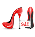 Red shoe with high heels vector image vector image