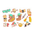 rock and roll music elements set funny crazy vector image
