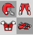 set american football clothes element protection vector image vector image