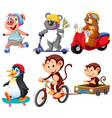set cartoon animal vector image vector image