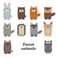 Set of cute forest animals vector image vector image