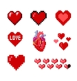 Set of pixel hearts vector image vector image
