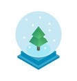 Snow glass ball with christmas tree icon vector image vector image