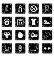 Sport icons set grunge style vector image vector image