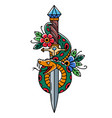 tattoo dagger with snake and flower old school vector image