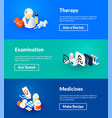 therapy examination and medicines banners of vector image