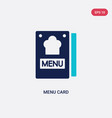 two color menu card icon from bistro and vector image