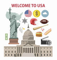 usa travel or america tourism welcome poster vector image vector image
