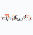 winter triathlon sport competition set vector image