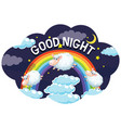 word design for good night with sheeps vector image