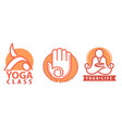yoga class and studio labels with asanas vector image