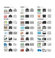 buildings cartoon icons set vector image