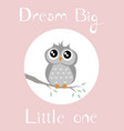 a baby owl with babypink background vector image vector image