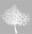 abstract white tree with heart shape leaves vector image vector image