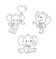 baelephant outline characters set vector image