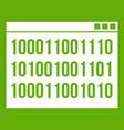 binary code icon green vector image