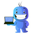 blue cartoon caracter with laptop on white vector image vector image