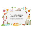 bright design with famous places california vector image vector image