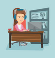 business woman with headset working in the office vector image vector image