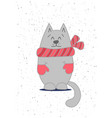 card template with cute cat vector image vector image