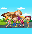 children visit the zoo at day time vector image