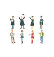 college or university students set graduated vector image vector image