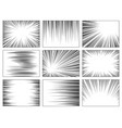 comic book speed lines set explosion effect vector image