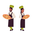 cooks couple professional chefs holding trays with vector image vector image