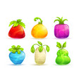 cute cartoon bright colorful fantasy fruits and vector image vector image