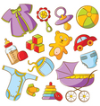 doodle baby icon set vector image vector image