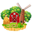 farm scene with red barn and wooden windmill vector image