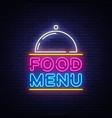 food menu neon sign restaurant menu neon vector image vector image