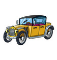 funny small retro vintage car with eyes vector image