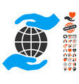 global insurance icon with valentine bonus vector image vector image