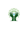 hand tree hold water drop leaf logo icon vector image