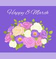 happy 8 march blue placard vector image vector image