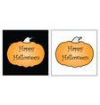 happy halloween card - orange pumpkin vector image