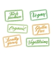 Healthy food stamps with hand drawn letterings vector image